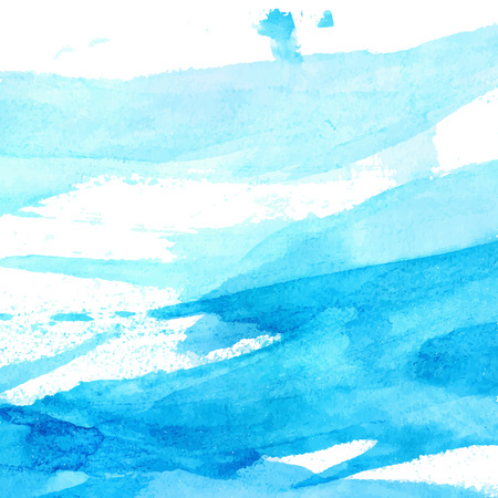 Blue watercolor texture with brush strokes and stains. vector background Vectores