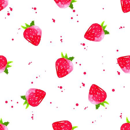水彩画いちご背景。果物と芸術的なシームレス パターン。