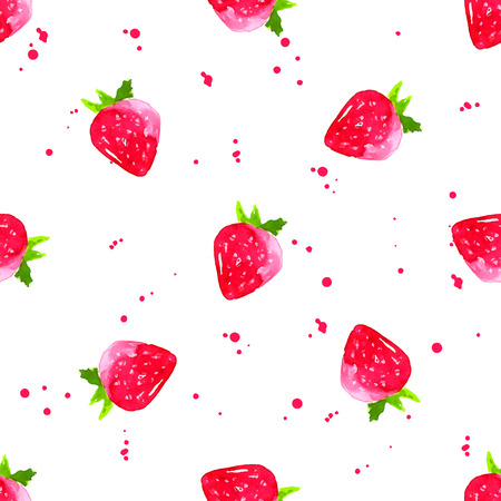 Watercolor strawberry background. Artistic seamless vector pattern with fruits. Ilustracja