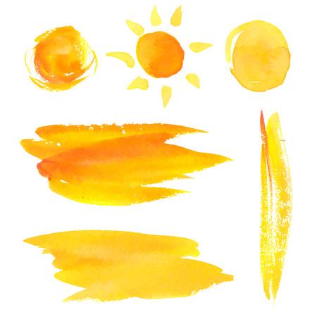 Set van verf penseelstreken en vlekken. Geel vector aquarel achtergronden en zon.