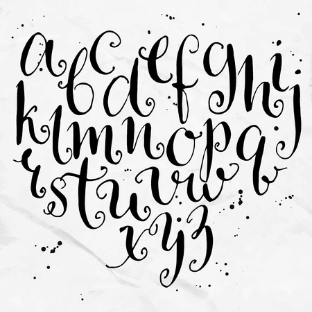Vector curly alphabet. Artistic hand drawn letters.