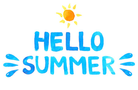 Hand drawn text hello summer. Blue vector watercolor letters and sun.