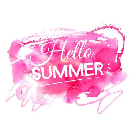 Bright hello summer illustration. Text on artistic pink watercolor splash.