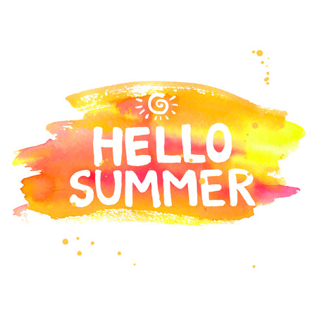 Hello summer lettering on orange watercolor stroke. Vector illustration with sun. Vettoriali