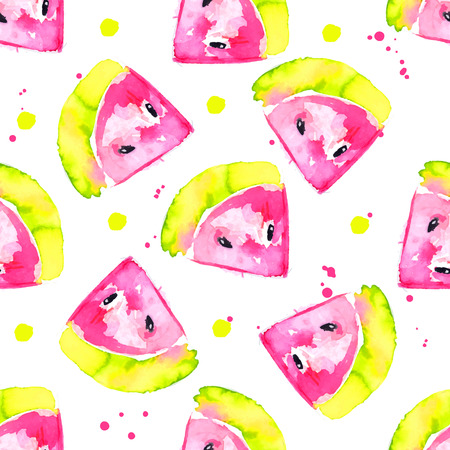 watermelon: Fresh watercolor seamless pattern with hand drawn pink watermelons. Vector fruit background.