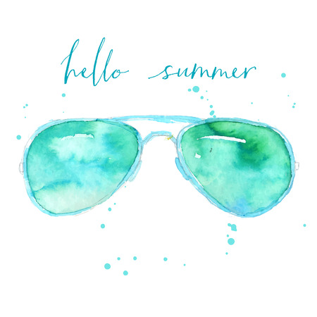 Fashion watercolor glasses illustration with text hello summer. Vector design. Çizim