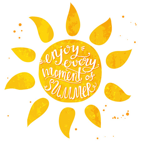 sunny beach: Watercolor sun with hand lettering text enjoy every moment of summer. Vector illustration for cards, posters and travel advertisement. Illustration