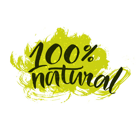 natural product: 100 natural stricker with handwritten brush calligraphy at green splatter paint background. Eco friendly concept for , banners, cards, advertisement. Vector ecology nature design.