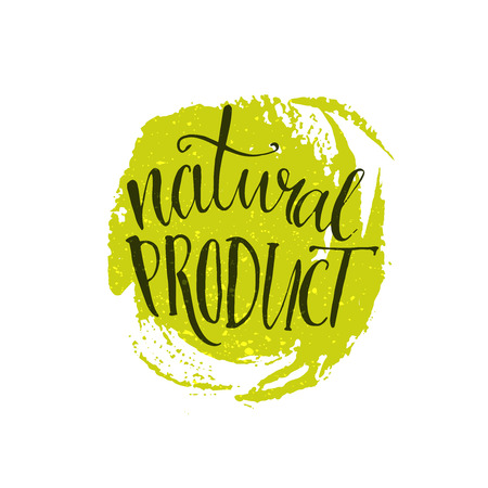 paint strokes: Natural product sticker - handwritten modern calligraphy on grunge green paint strokes. Eco friendly concept for stickers, banners, cards, advertisement.