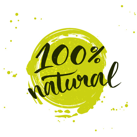natural: natural green lettering sticker with brushpen calligraphy. Eco friendly concept for stickers, banners, cards, advertisement. Illustration