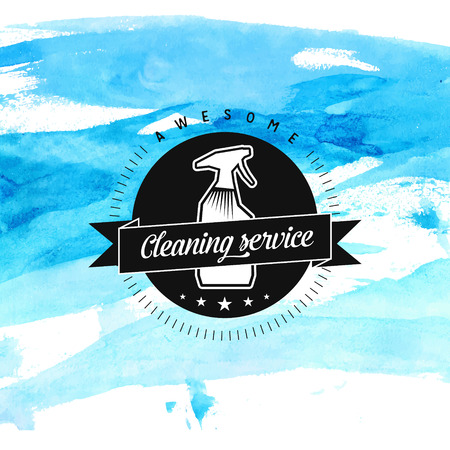 Cleaning service badge with spray and ribbon at blue watercolor background