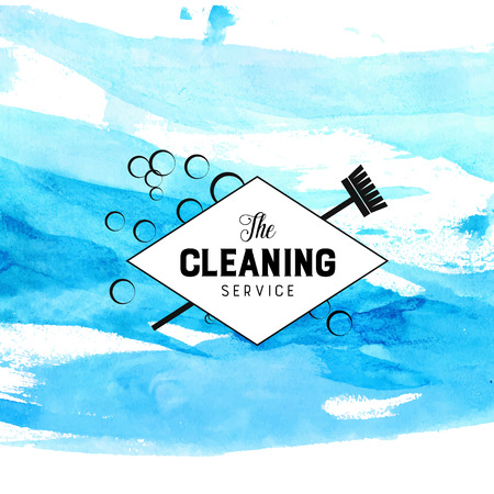 dirty carpet: Vintage diamond badge for cleaning service with broom and bubbles.  Illustration