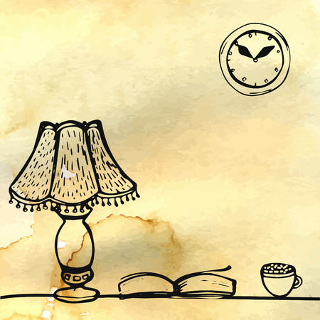 Lamp, book and cup on the table. Hand drawn doodles at brown watercolor background.