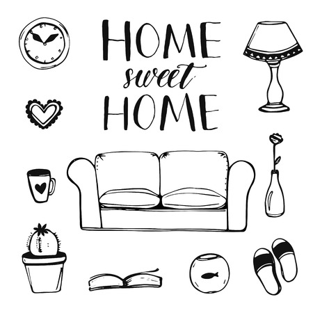 Set of hand drawn home interior doodles: couch, lamp, clock, cactus, slippers and other items with calligraphy phrase home sweet home for cards and posters