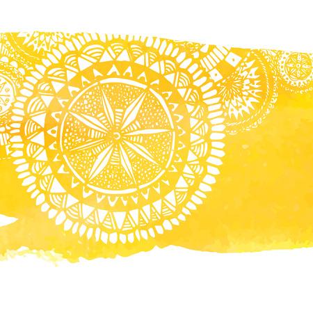 colores calidos: Fondo amarillo de la pintura de la acuarela con blancos dibujados a mano garabatos circulares y mandalas.