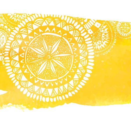 colores calidos: Yellow watercolor paint background with white hand drawn round doodles and mandalas.