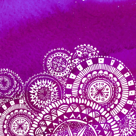 Violet watercolor paint background with white hand drawn round doodles and mandalas.