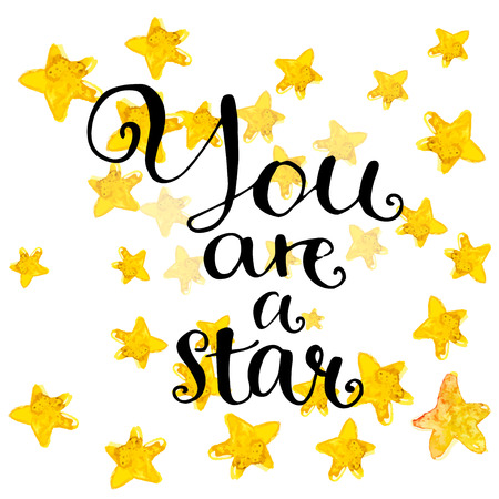 You are a star - modern calligraphy phrase handwritten on watercolor golden stars background. Иллюстрация