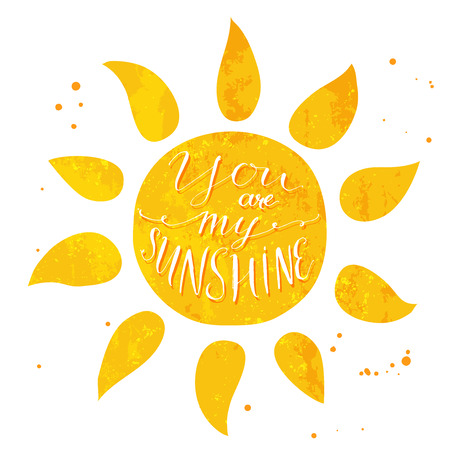 Watercolor sun with text you are my sunshine. romantic card design. 矢量图像