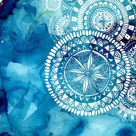 Blue aquarel penseel wassen met getekende witte hand patroon - rond doodle tribale elementen. Stock Illustratie