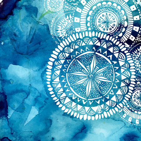 mandala background: Blue watercolor brush wash with white hand drawn pattern - round doodle tribal elements.