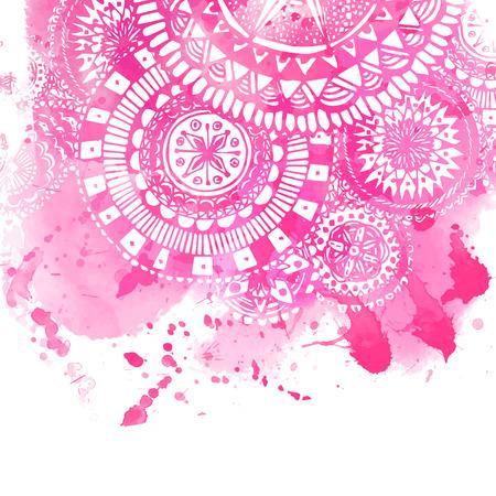 Sfondo rosa pittura ad acquerello con bianchi disegnati a mano scarabocchi rotonde e mandala. Archivio Fotografico - 42499024