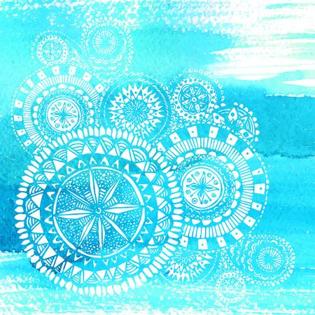 Blauw aquarel penseelstreken met witte hand getekende mandala's - rond doodle Indische elementen. Stock Illustratie