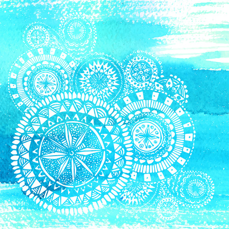 indian ocean: Blue watercolor brush strokes with white hand drawn mandalas - round doodle Indian elements.
