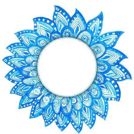 marcos decorativos: todo el marco con garabatos dibujados a mano acuarela. azul de fondo étnico tribal con espacio para texto Vectores