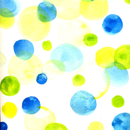 Fresh background with hand drawn watercolor circles, green and vibrant blue. Watercolor texture. Illustration