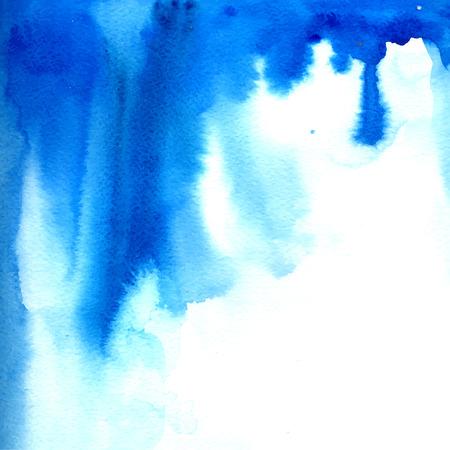 青い水彩絵の具の流れ。