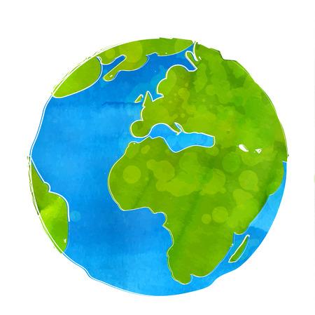 Künstlerische Darstellung der Erde Globus isoliert auf weißem Hintergrund. Aquarell-Stil mit Zierbuchstaben, Flecken und Spritzer.