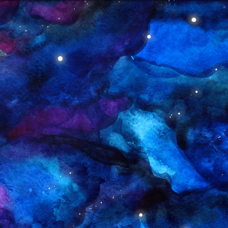 night background: Watercolor space texture with glowing stars. Night starry sky with paint strokes and swashes.