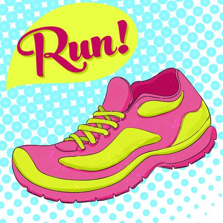 running shoe: Poster Sport con scarpe da corsa e corsa di testo. Effetto mezzitoni.