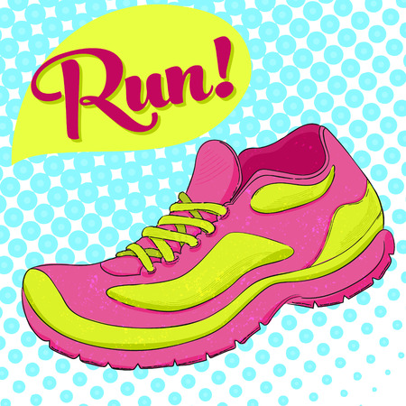 shoes cartoon: Sport poster with running shoe and text run. Halftone effect.