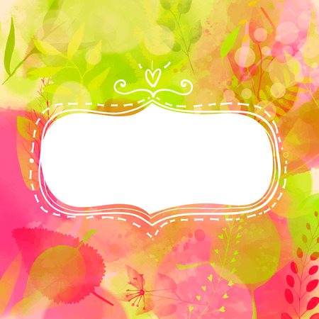 Blank doodle decorative frame. Nature inspired pink and green background with watercolor texture and leaves.