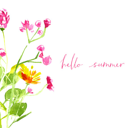 hand painted: Hello summer text with hand painted watercolor wild flowers and leaves.  Illustration