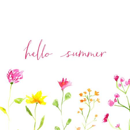 こんにちは夏テキスト手に描いた水彩画の野生の花や葉。