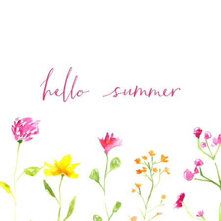 Hello summer text with hand painted watercolor wild flowers and leaves.