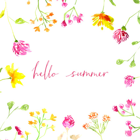 Hello summer text with hand painted watercolor wild flowers and leaves.  Ilustração