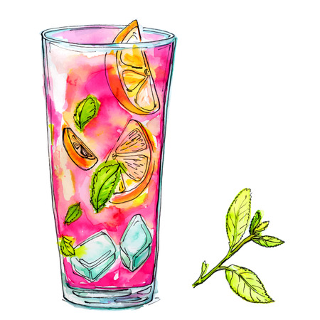 highball: Glass of pink cocktail with mint, orange and ice. Watercolor illustration of alcohol drink.