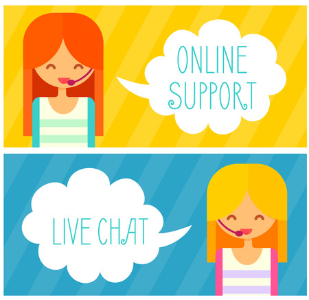 support agent: Banners with live chat support managers, young smiling girls with headset.