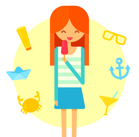 red hair girl: Young happy red hair girl eats ice cream. Summer flat illustration with crab, cocktail, anchor and sunscreen tube icons.