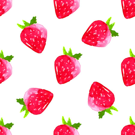 Watercolor strawberry background. Artistic seamless pattern with fruits.
