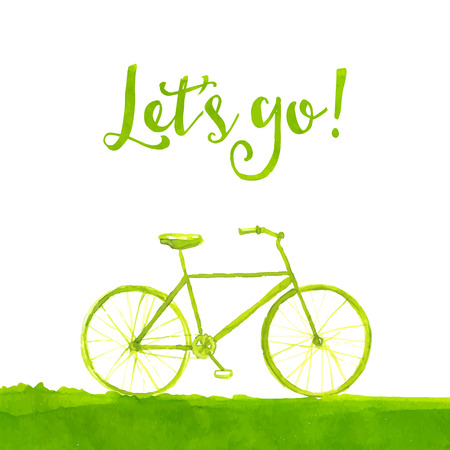 Green painted bicycle with text lets go. Healthy lifestyle concept. watercolor illustration