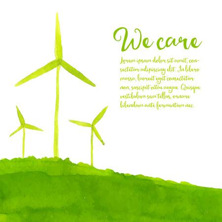手描きの丘の上の風車と緑のエコの背景。生態学の概念。水彩イラスト。  イラスト・ベクター素材