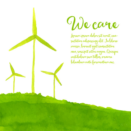 Eco de fondo verde con turbinas de viento pintados a mano en la colina. Concepto de la ecología. ejemplo de la acuarela. Ilustración de vector