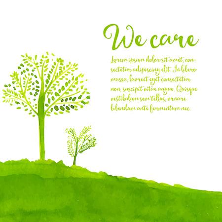 grün: Green eco Hintergrund mit Hand gemalte Bäume, Gras und Text wir kümmern.