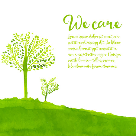 Green eco background with hand painted trees, grass and text we care.