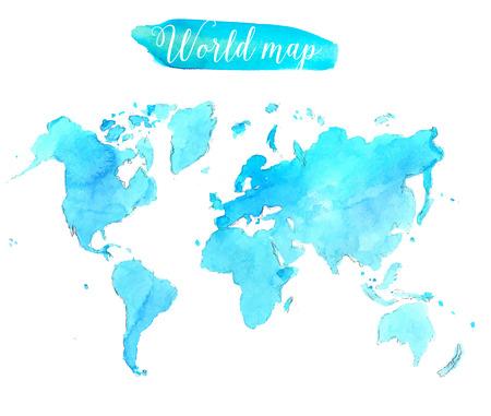 Blue watercolor world map. Creative illustration.